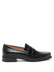 Tod's Gommini Crocodile Embossed Leather Penny Loafers Black