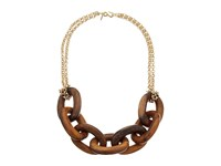 Kenneth Jay Lane Wood Links Necklace With Polished Gold Chain Brown Necklace