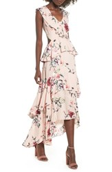 Leith Ruffle High Low Maxi Dress Pink Rose Cloud Floral