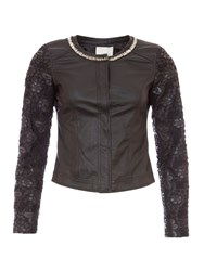 Relish Faux Leather Jacket With Floral Sleeves Black