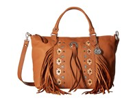 American West Chenoa Large Zip Top Convertible Satchel Golden Tan Satchel Handbags