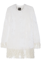 Mcq By Alexander Mcqueen Sequin Embellished Wool Mini Sweater Dress