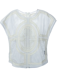 Ktz Front Zip Embroidered Mesh Top