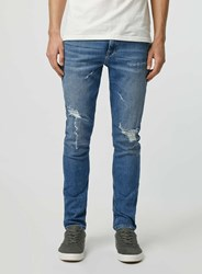 Topman Light Wash Ripped Stretch Skinny Jeans Blue