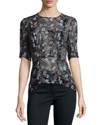 Veronica Beard Short Sleeve Sheer Floral Silk Blouse Black Women's Black Floral