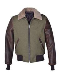 Schott Sheepskin Collar Mixed Media B 15 Jacket Olive
