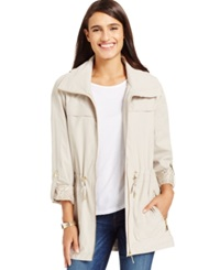 Jm Collection Roll Tab Hooded Anorak Raincoat Stonewall