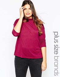 Brave Soul Plus Long Sleeve High Neck Top Purple
