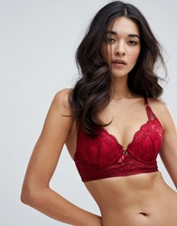 Ann Summers Viola Lace Plunge Longline Bra Red