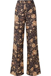 Zimmermann Veneto Printed Linen Flared Pants Chocolate