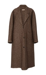 Michael Kors Collection Oversized Wool Melton Coat Brown