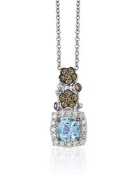 Levian Chocolatier Sea Blue Aquamarine Chocolate Diamond And Vanilla Diamond Pendant Necklace