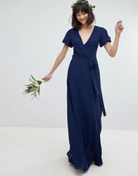 Tfnc Wrap Maxi Bridesmaid Dress With Tie Detail And Puff Sleeves Navy