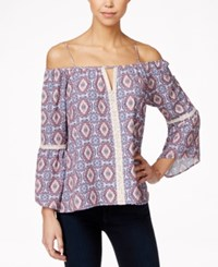 Stoosh Juniors' Printed Off Shoulder Peasant Blouse Coral Ivory