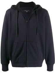 Rag And Bone Zip Up Hooded Jacket Blue