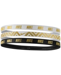 Nike 3 Pk. Metallic Headbands White