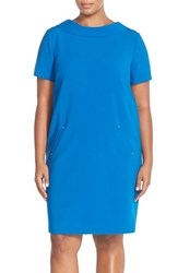 Plus Size Women's Tahari Short Sleeve Double Weave V Back Shift Dress