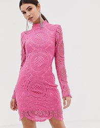 Girl In Mind High Neck Long Sleeve Lace Mini Dress Pink