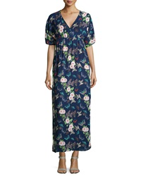Romeo And Juliet Couture Floral V Neck Side Slit Maxi Dress Blue Multi