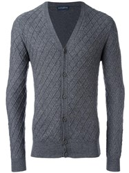 Ballantyne Jacquard V Neck Cardigan Grey