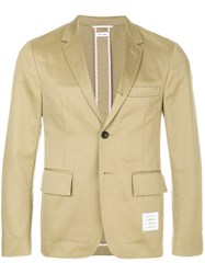 Thom Browne Unconstructed Cotton Twill Classic Sport Coat Nude And Neutrals