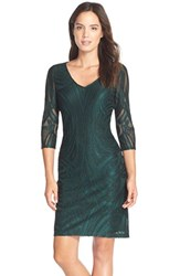 Women's Julia Jordan Flocked Sheath Dress Green