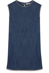 Miu Miu Embellished Denim Mini Dress Mid Denim