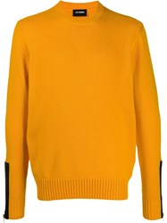 Les Hommes Contrasting Cuff Jumper Yellow