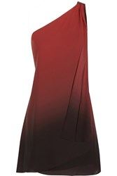 Halston One Shoulder Ombre Georgette Dress Red