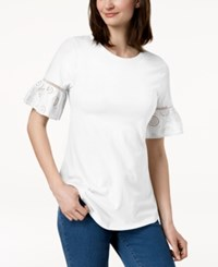 Charter Club Ruffled Eyelet Sleeve Top Created For Macy's Bright White
