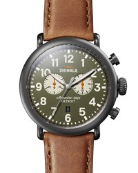 Shinola 47Mm Runwell Chronograph Watch Gunmetal Case Gray Pattern