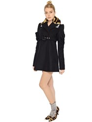 Kenzo Wool Blend Coat W Fur Collar