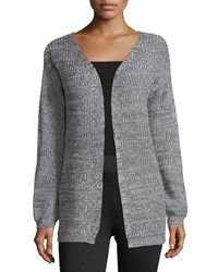 Dex Melange Knit Cardigan W Lace Up Back Gray