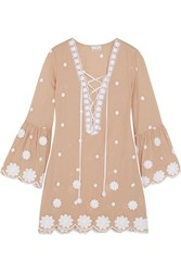 Miguelina Laure Embroidered Cotton Mini Dress Sand