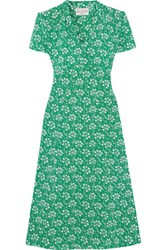 Hvn Morgan Floral Print Silk Crepe De Chine Dress Green