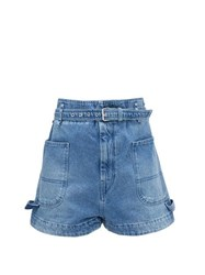 Isabel Marant Kike Paperbag Waist Denim Shorts Light Denim