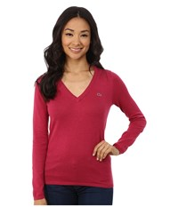 Lacoste Long Sleeve Cotton Double Overlay V Neck Sweater Fairground Pink Chine Women's Long Sleeve Pullover Red