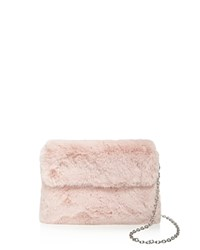 Street Level Faux Fur Clutch Blush Silver