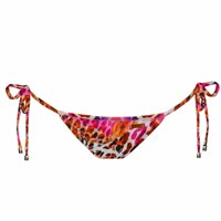 Look Z Swimwear Pink And White Leopard Padded Bandeau Bikini Bottom Pink Purple