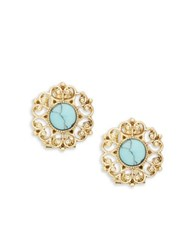 Nanette Lepore Stone Accented Floral Stud Earrings Gold