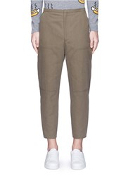 Acne Studios 'Phase' Cotton Linen Flare Work Pants Green