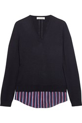 Altuzarra Colbert Striped Silk Trimmed Merino Wool Sweater Navy