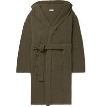 Connolly Ribbed Cashmere Hooded Cardigan Army Green