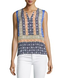 Laundry By Shelli Segal Printed Sleeveless Tunic Dazzling Blue