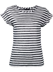 Luisa Cerano Semi Sheer Striped T Shirt Blue