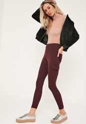 Missguided Burgundy Jersey Side Pocket Leggings