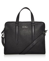 Salvatore Ferragamo Firenze Tumbled Calfskin Slim Briefcase Black