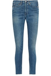 Re Done Originals High Rise Ankle Crop Frayed Skinny Jeans Blue