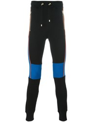 Balmain Colour Block Biker Sweatpants Black