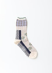 Antipast Tiles Stretch Cotton Socks Ivory